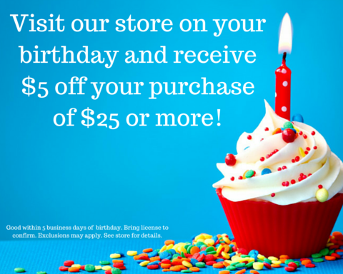 Save $5 on your birthday at the HSB Bookstore!